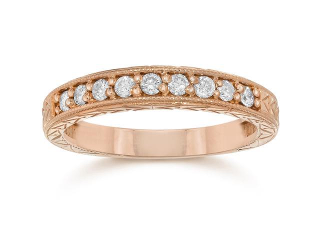 1/4ct Engraved Genuine Diamond Womens Wedding Ring 14K Rose Gold Vintage Band