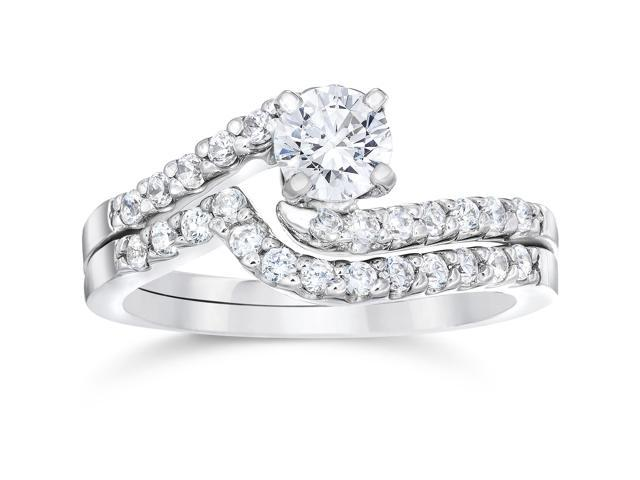 1ct Diamond Pave Engagement Bypass Wedding Ring Set Matching 14K White Gold