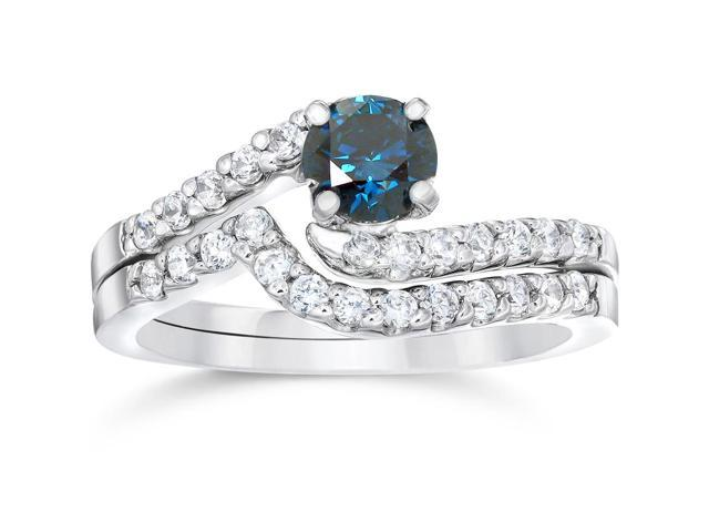 3/4ct Heat Treated Blue & White Diamond Womens Engagement Wedding Ring Set 14K White Gold