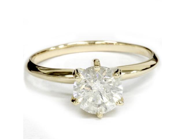 Yellow Gold 1ct Round Solitaire Diamond Engagement Ring 14K Clarity Enhanced