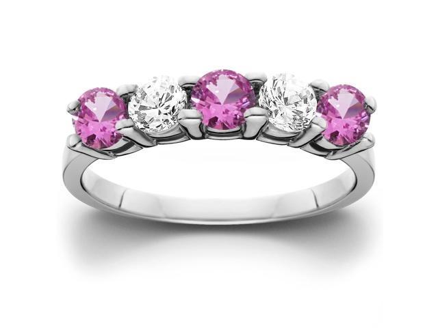 1 1/10ct Pink Sapphire & Diamond Ring 14K White Gold