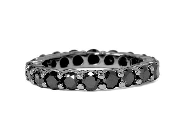 3 1/2CTTW Black Diamond & Black Gold Womens Eternity Stackable Ring