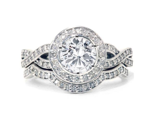 1ct Diamond Engagement Ring Set 14K White Gold