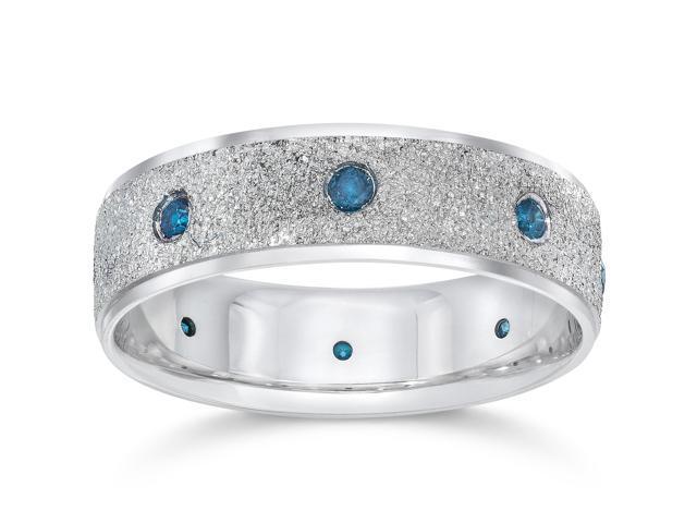 Mens 14K White Blue Diamond 1/3ct Stone Finish Wedding