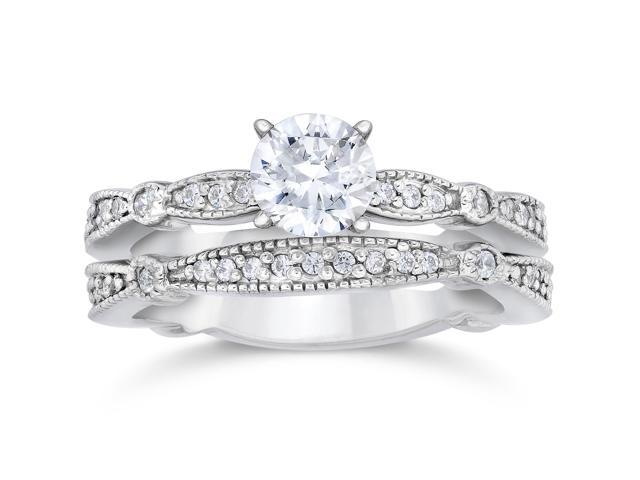 1ct Pave Milgrained Diamond Engagement Wedding Ring Set 14K White Gold