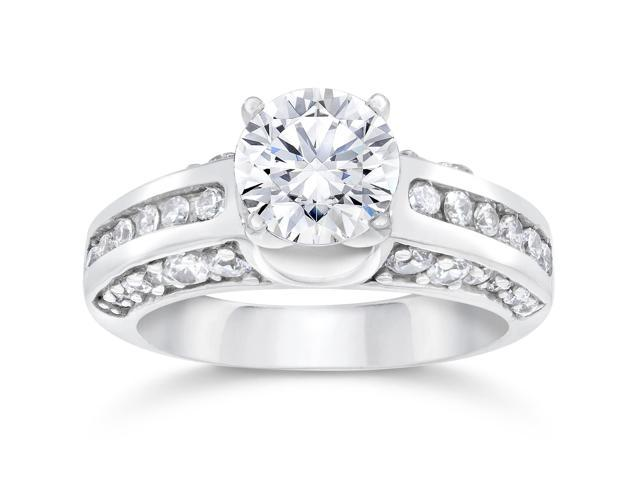 G/SI 2 1/2ct Round Enhanced Solitaire Diamond Engagement Accent Ring White Gold