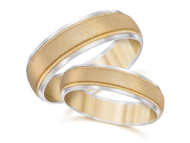 Gold Matching His Hers Two Tone Wedding Band Ring Set