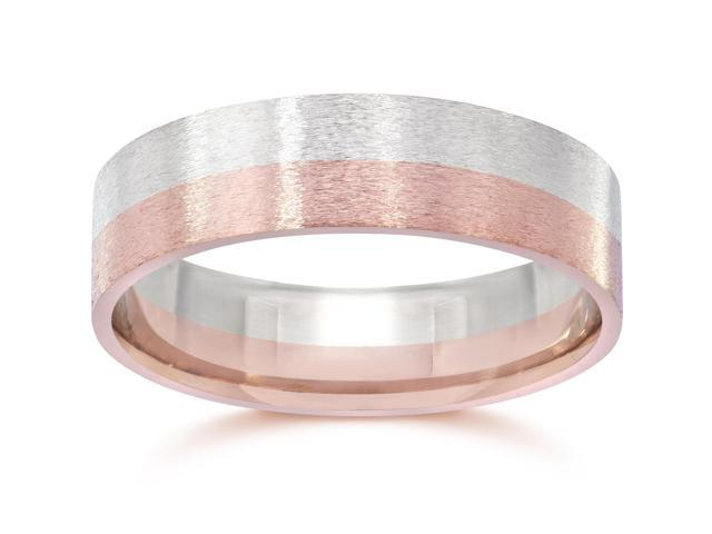 Brushed Two Tone Flat Wedding Band 14K Rose & White Gold