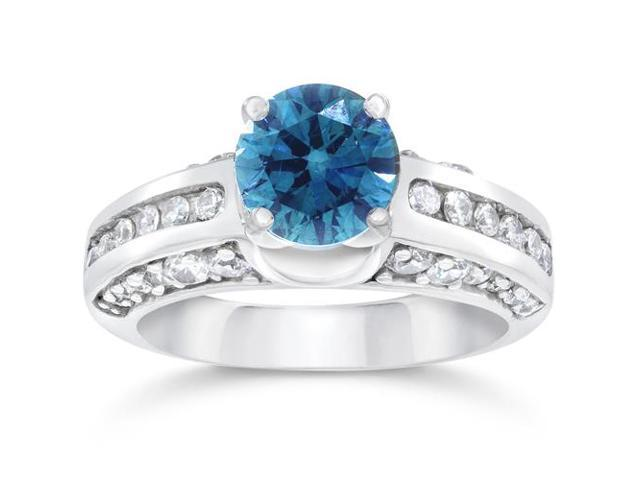 1 3/4ct Treated Blue & White Diamond Ring 14K Gold