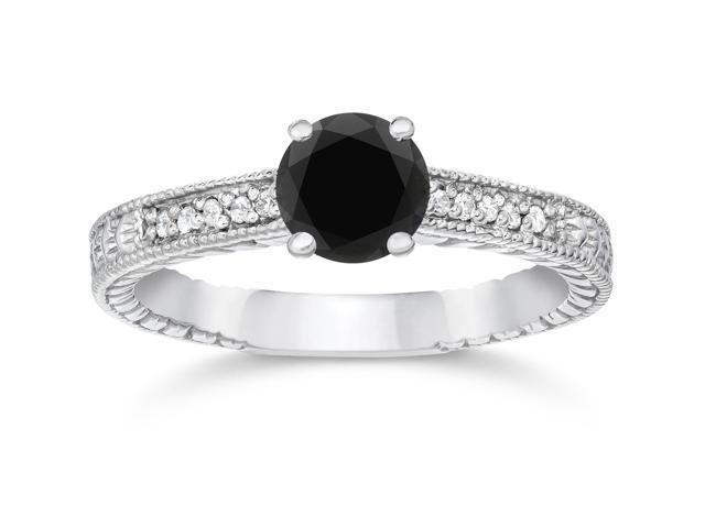 1 1/5ct Vintage Treated Black & White Diamond Engagement Ring 14K White Gold