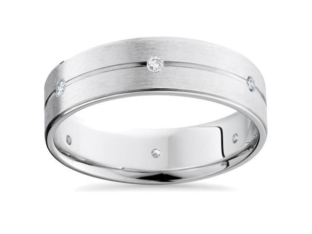 Mens 14K White Gold Diamond Comfort Fit Wedding Band