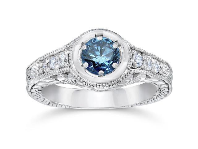 5/8ct Art Deco Treated Blue Diamond Vintage Engagement Ring 14K White Gold