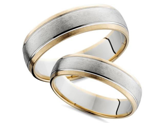 14K Gold Two Tone Comfort Fit Wedding Ring Band Set New