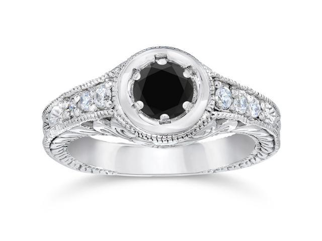 5/8ct Vintage Treated Black & White Diamond Engagement Ring 14K White Gold
