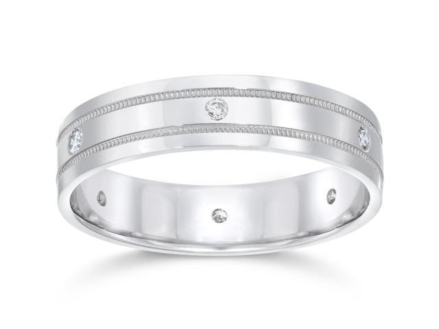 Mens 14K White Gold Diamond Wedding Anniversary Band