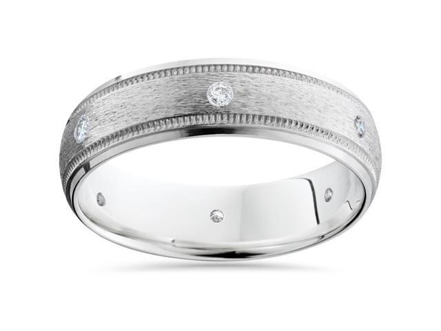 Mens 14K White Gold Diamond Wedding Brushed Band Ring