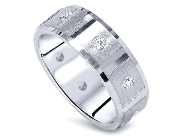 Mens 1ct Diamond Comfort Fit Wedding White Gold Ring