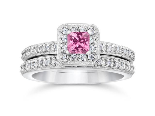 Princess Cut Pink Sapphire 1 1/3ct Pave Vintage Diamond Ring Set 14K White Gold