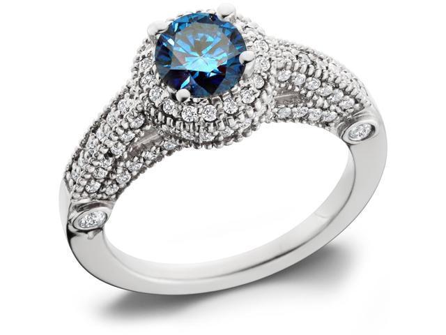 Blue Diamond Engagement Ring 1 1/6ct Halo Milgrain Vintage Ring 14K White Gold