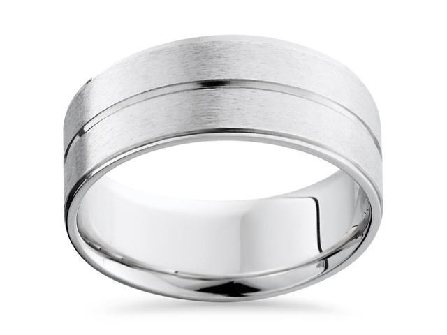 Channel & Beveled Edge Wedding Band 14K White Gold