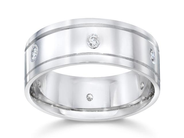 Mens 8mm 14K White Gold Comfort Wedding Diamond Band