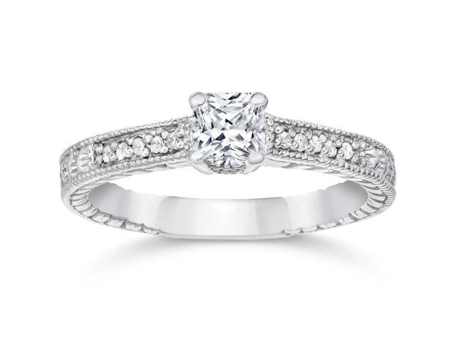 1/2ct Princess Cut Antique Vintage Diamond Engagement Ring 14K White Gold