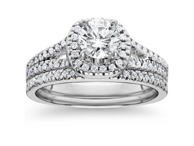 1ct Halo Diamond Engagement Ring Set Split Shank Bridal Wedding 14K White Gold