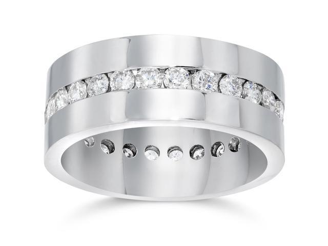 Mens 1 1/10ct Diamond Eternity Comfort Wedding Band 14k White Gold Ring