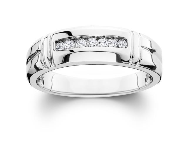 1/4ct Channel Set Diamond Ring 14K White Gold Mens Wedding Band