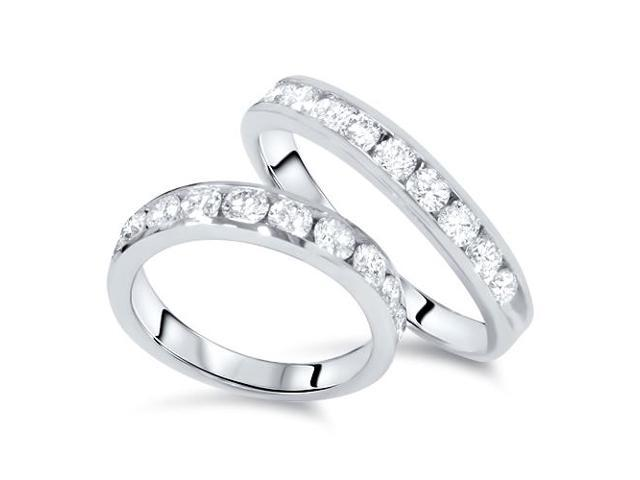 2ct Diamond 14K White Gold His/Hers Wedding Ring Set