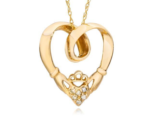 Claddagh Diamond Pendant 14K Yellow Gold