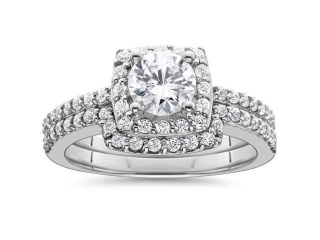 1 1/4ct Diamond Cushion Halo Engagement Matching Wedding Ring 14K White Gold