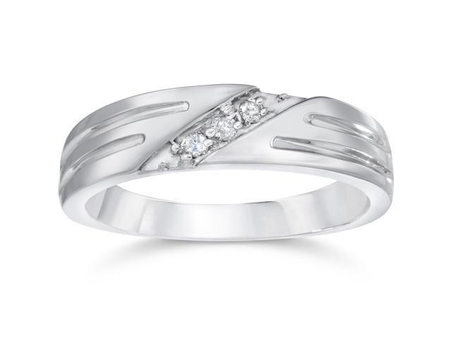 Mens Real Diamond 14k White Gold Wedding Ring Band New