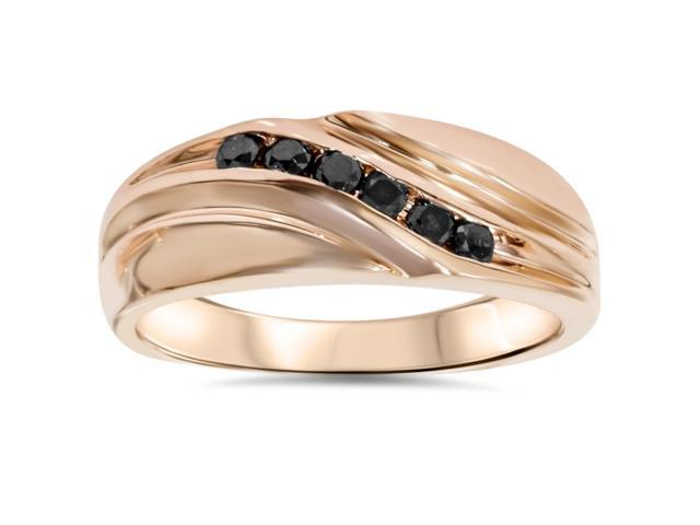 1/4ct Black Diamond Mens 14K Rose Gold Wedding Ring