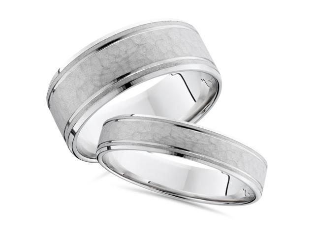 8/4mm Hammered His Hers Wedding Band 14K White Ring Set