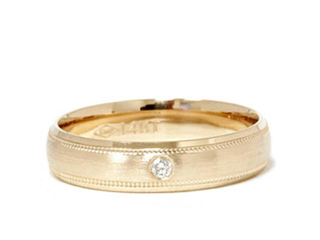 Mens Diamond Solitaire Band 14K Yellow Gold