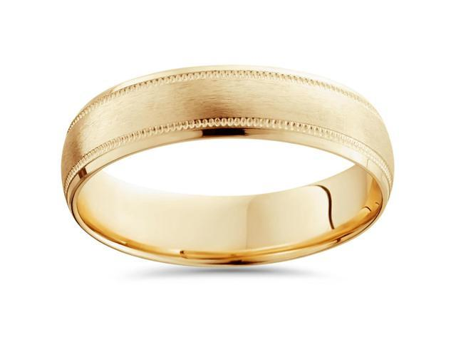 18K Yellow Gold Mens Brushed 6mm Wedding Band