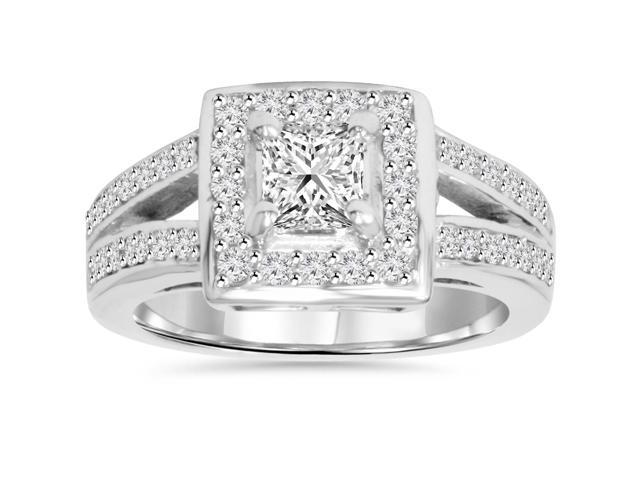 7/8ct Halo Diamond Split Shank Ring 14K White Gold