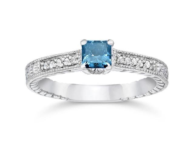 1/2ct Princess Cut Antique Treated Blue Diamond Engagement Ring White Gold