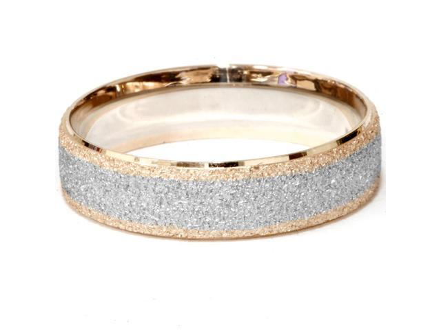 14K Rose & White Gold Two Tone Mens Brushed Wedding Ring Band
