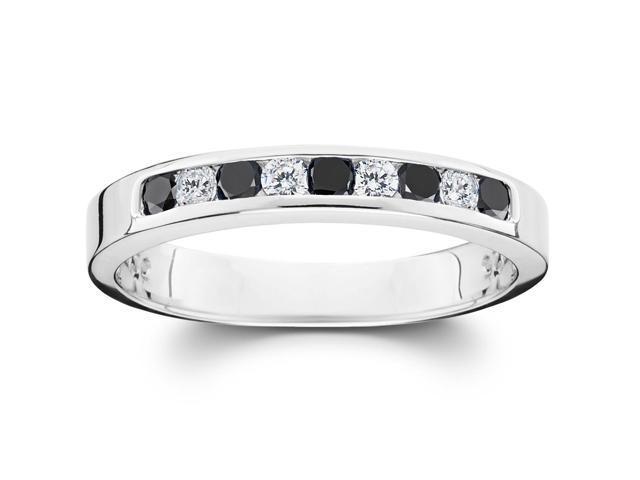 1/3ct Treated Black & White Diamond Channel Set Womens 10k White Gold Ring