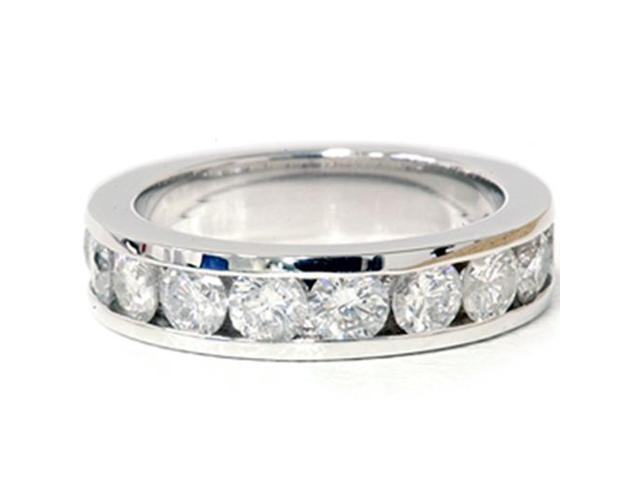 Large 1 1/2ct Diamond 14K White Gold Womens Channel Set Round Solid Wedding Ring