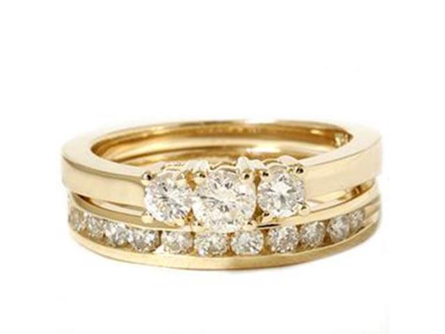 14k Yellow Gold 1ct Diamond Engagement Wedding Ring Set 3Stone Channel Set Round