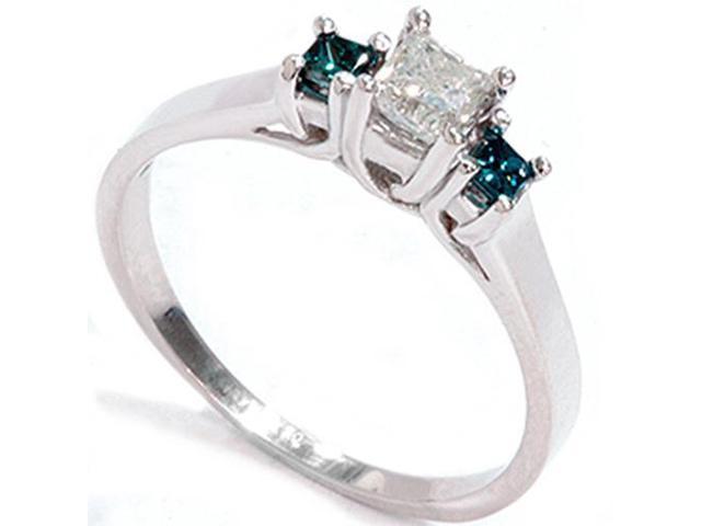 1/2ct Princess Cut Treated Blue & White Diamond 3-Stone Engagement Ring 14K Gold