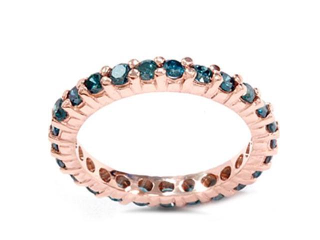 1 1/2ct Trated Blue Diamond Eternity Ring 14K Rose Gold Womens Wedding Band