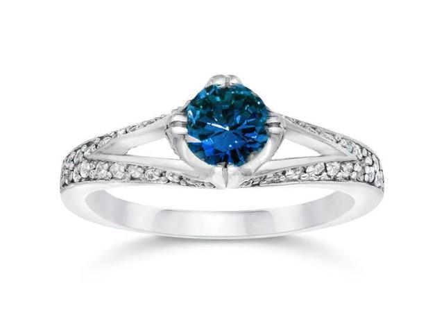 1 1/6ct Vintage Treated Blue Diamond Pave Engagement Ring White Gold Solitaire