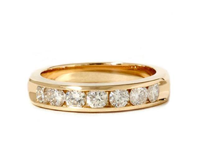 14k Yellow Gold 1ct Genuine Round Diamond Brilliant Cut Solitaire Channel Set