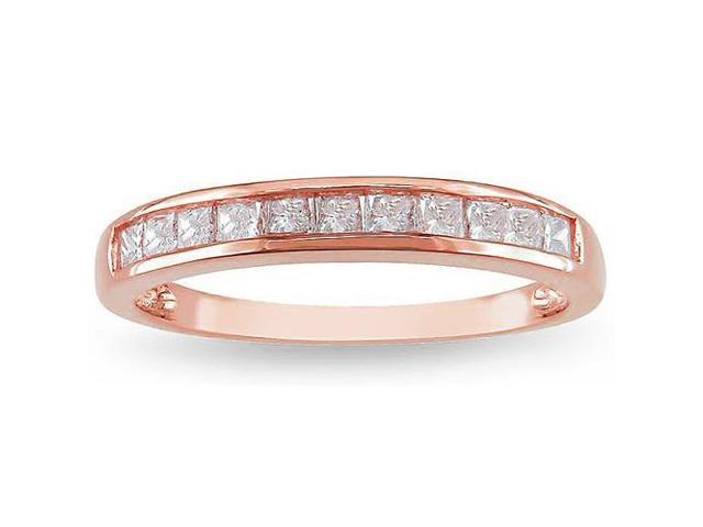 1/2ct Princess Cut Diamond Wedding Ring 14K Rose Gold Channel Set