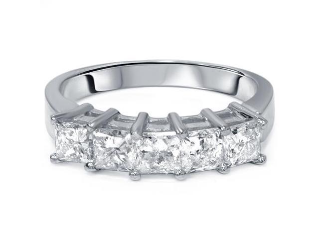 2ct Princess Cut Diamond Wedding Anniversary Ring Womens Band 14k White Gold