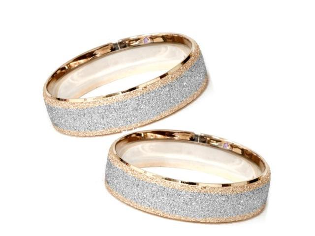 Matching His & Hers 14K Rose & White Gold Wedding Bands Mens Womens 2-Tone